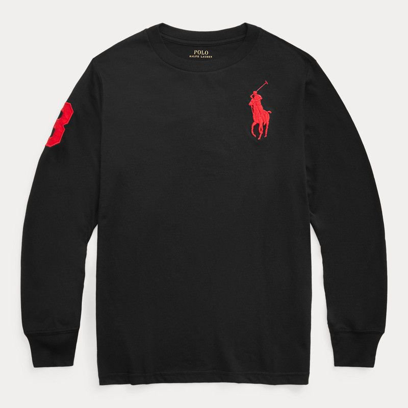 ビッグポニー・コットン・長袖Tシャツ[2色展開] (ボーイズS〜XL)