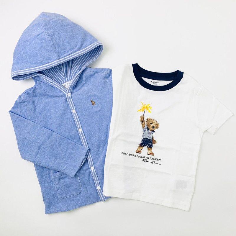 【ラッピング・送料無料】リバーシブルパーカー&ポロベアTシャツ・2ピースギフトセット [ライトブルー&ホワイト] (男の子18〜24か月用)