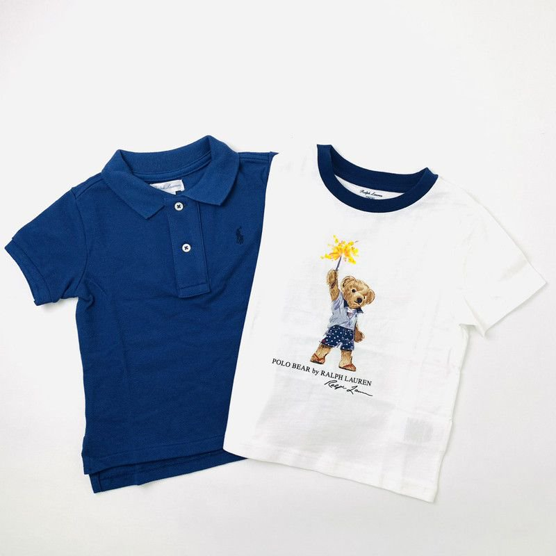 【ラッピング・送料無料】ポロシャツ&ベアTシャツ・2ピースギフトセット[フェデラルブルー&ホワイト] (男の子18〜24か月用)
