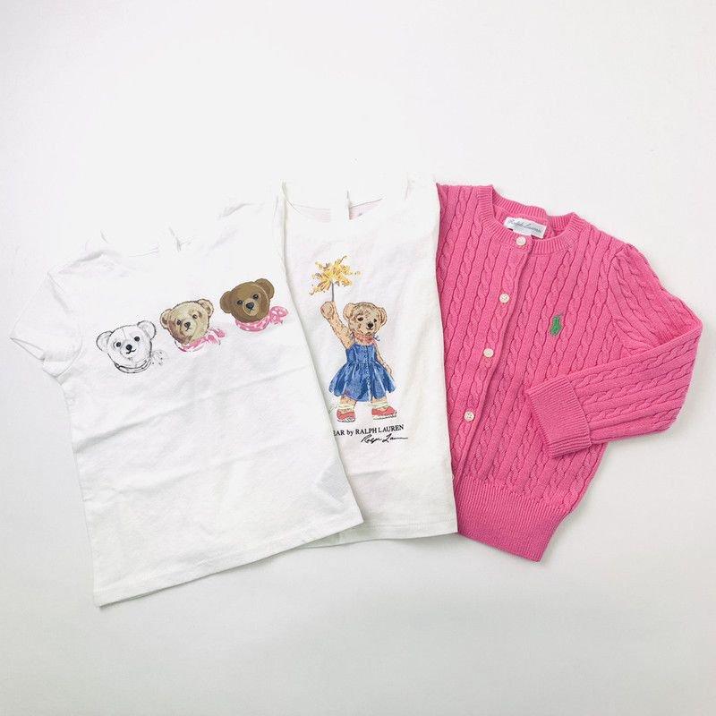 【ラッピング・送料無料】ベア半袖Tシャツ2枚&カーディガン・3ピースギフトセット [ホワイト&ピンク](女の子12〜24か月用)