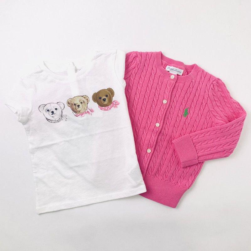 【ラッピング・送料無料】スリーベア・半袖Tシャツ&カーディガン・2ピースギフトセット [ホワイト&ピンク](女の子12〜24か月用)
