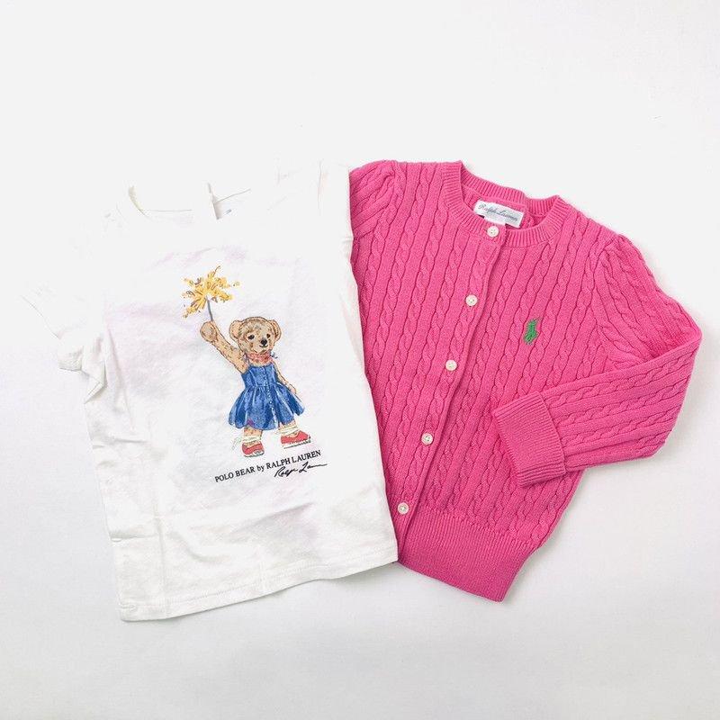 【ラッピング・送料無料】スパークラーベア・半袖Tシャツ&カーディガン・2ピースギフトセット [ホワイト&ピンク](女の子12〜24か月用)