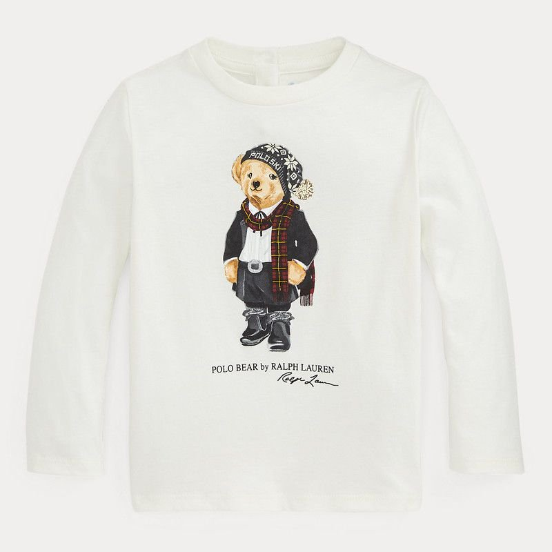 <img class='new_mark_img1' src='https://img.shop-pro.jp/img/new/icons15.gif' style='border:none;display:inline;margin:0px;padding:0px;width:auto;' />ポロベア・コットン・長袖Tシャツ[ホワイト] (女の子12〜24か月用)