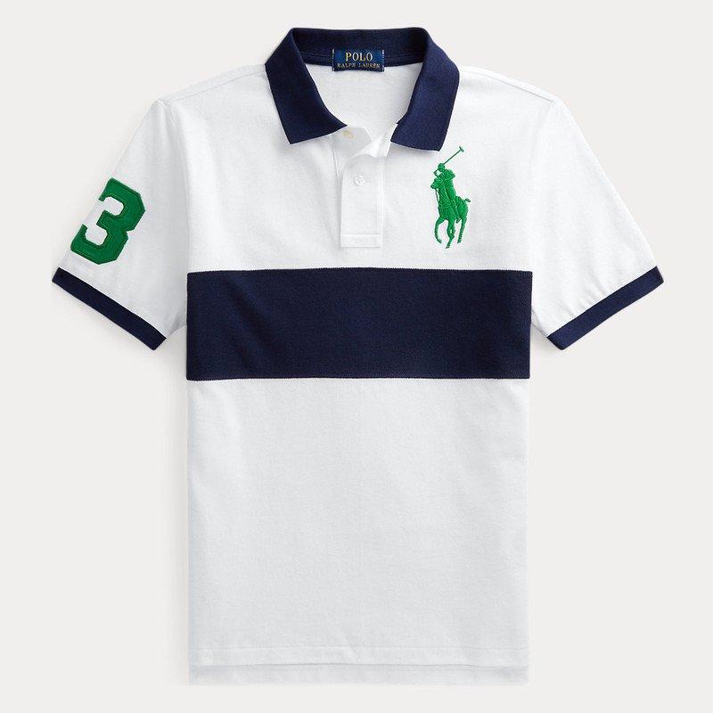 ビッグポニー・ストライプコットン・半袖ポロシャツ[ネイビー](男の子2〜7歳用)