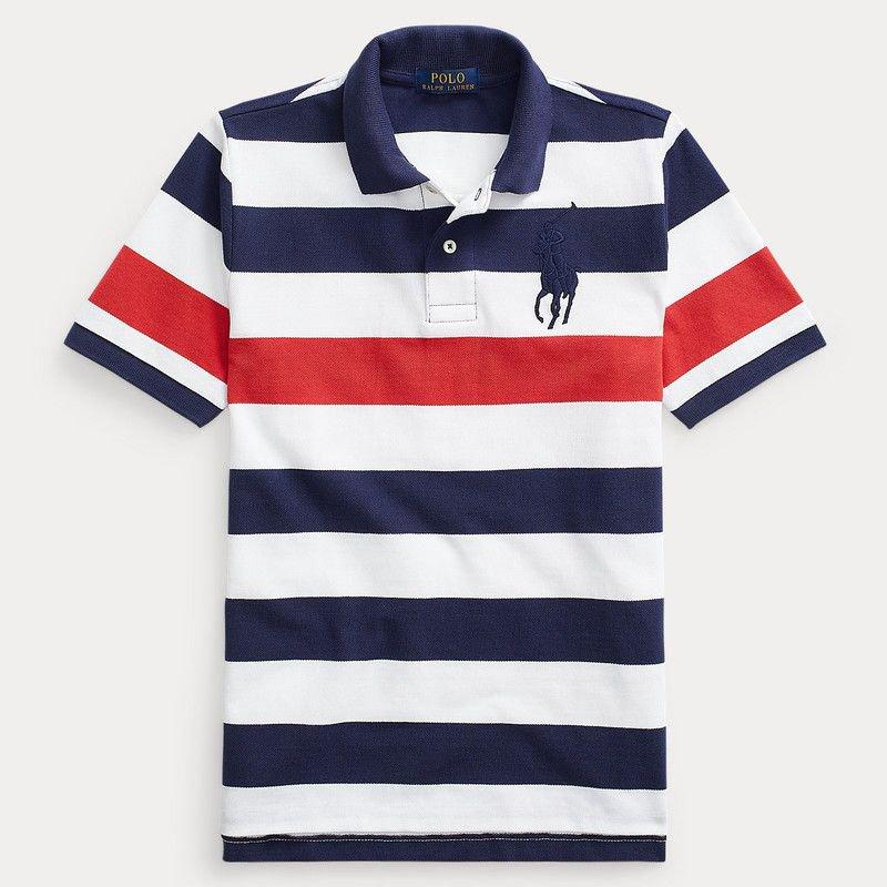 ビッグポニー・ストライプコットン・半袖ポロシャツ[ネイビー] (ボーイズS〜XL)