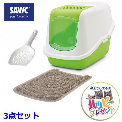 猫トイレ ペット用品 18%オフ  SAVIC 3点セット (ネスター ホワイト/ライムグリーン ・リターマット・リタースコップ ミクロ)