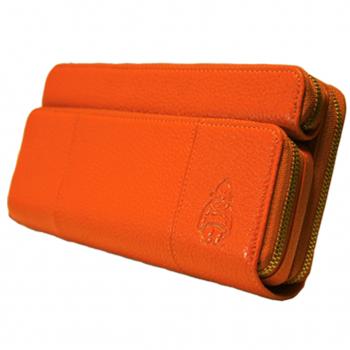 【風水財布 ハッピーオレンジ】 ビリちゃんが型押しされた特別な財布です