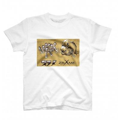 (2/13山崎りょう)「山崎Tシャツ サカナと7人のズラメちゃん」【M.L】白