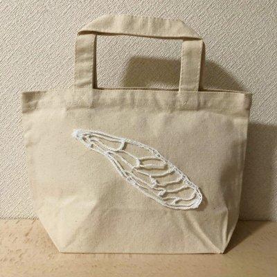 22-01 黒沼真由美 レース編みミニトートバッグ【ミンミンゼミ左前翅】