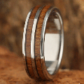 【ハワイアンジュエリー】コアウッドリング/6mm Titianium Koa Wood Inlaid Double Row Wedding Ring