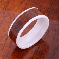 【ハワイアンジュエリー】コアウッドリング/8mm Flat Hight Tech White Ceramic Koa Wood Wedding Ring