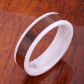 【ハワイアンジュエリー】コアウッドリング/6mm Flat Hight Tech White Ceramic Koa Wood Wedding Ring