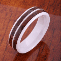 【ハワイアンジュエリー】コアウッドリング/6mm Double Row Hight Tech White Ceramic Koa Wood Ring