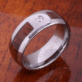 【ハワイアンジュエリー】コアウッドリング/8mm Natural Hawaiian Koa Wood Inlaid Tungsten with CZ Oval Wedding Ring