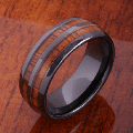 【ハワイアンジュエリー】コアウッドリング/8mm Koa Wood Inlaid High Tech Black Ceramic Double Row Wedding Ring