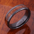 【ハワイアンジュエリー】コアウッドリング/6mm Natural Hawaiian Koa Wood Inlaid High Tech Black Ceramic Oval Wedding Ring