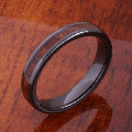 【ハワイアンジュエリー】コアウッドリング/4mm Natural Hawaiian Koa Wood Inlaid High Tech Black Ceramic Oval Wedding Ring