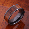 【ハワイアンジュエリー】コアウッドリング/8mm Natural Hawaiian Koa Wood Inlaid High Tech Black Ceramic Flat Wedding Ring