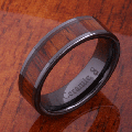 【ハワイアンジュエリー】コアウッドリング/6mm Natural Hawaiian Koa Wood Inlaid High Tech Black Ceramic Flat Wedding Ring