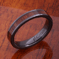 【ハワイアンジュエリー】コアウッドリング/4mm Natural Hawaiian Koa Wood Inlaid High Tech Black Ceramic Flat Wedding Ring