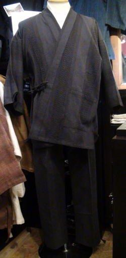 ドビー刺し子作務衣(グレー系)