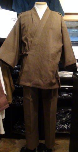 ドビー刺し子作務衣(茶系)
