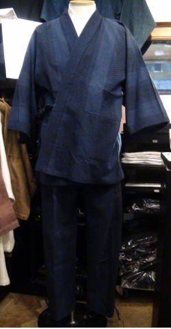 ドビー刺し子作務衣(紺)
