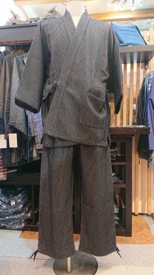 刺し子作務衣(グレー)