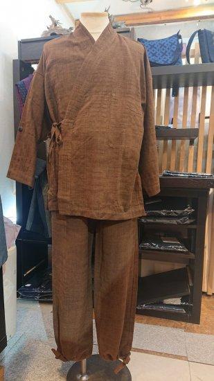 手織り綿作務衣(茶)