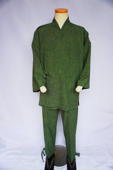 レトロポリエステル作務衣(グリーン)