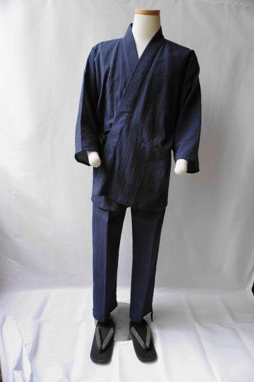綿麻楊柳作務衣(紺)