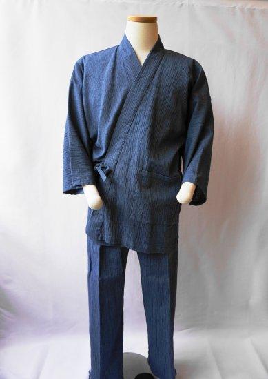 綿麻楊柳作務衣(薄紺)